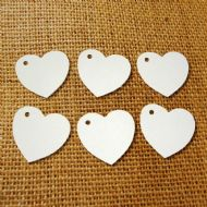 100 Heart Tags In White – Valentines – Wedding – Wish Tree Tags. No Ribbon Or String.